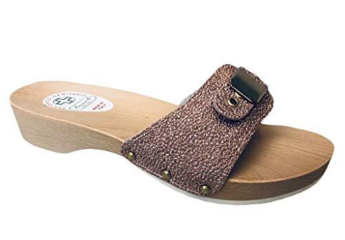 Bocciolo Zoe - Zueco anatómico de madera para mujer, empeine de piel con cierre de cajón, 3,5 cm, fabricado en Italia, artículo 441 Rosa Size: 38 EU