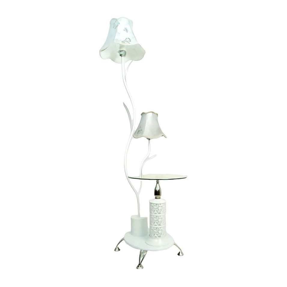 大西洋書誌原稿フロアスタンド LEDフロアランプ、ガラス棚付き、2つのライトクロスランプシェード、木製ベース付き、金属製スタンドリビングルームベッドルームオフィス用垂直立ちフロアライトランプH165cm/65inchs ホーム屋内照明フロアスタンド?ランプ (Color : White, サイズ : 40*33*165cm)