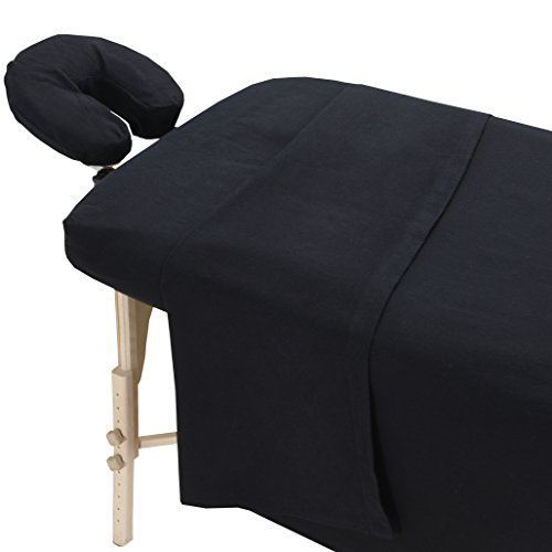 London Linens Extra Thick 100% Cotton Flannel Massage Table Cover Sheet 3 Piece Set (Exotic Black)