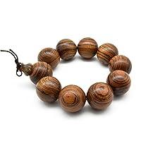 手作り腕輪のブレスレット 男性用女性用天然木数珠 ファッションなブレスレット 木の質念珠 天然の香木白檀ブレスレット (丸珠 25mm直径 10玉)