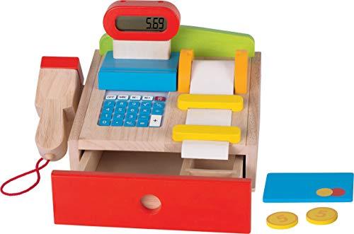 cama24com Kaufmannsladen-Kasse für Marktstand von goki aus Holz kreatives Spielzeug mit Palandi® Sticker