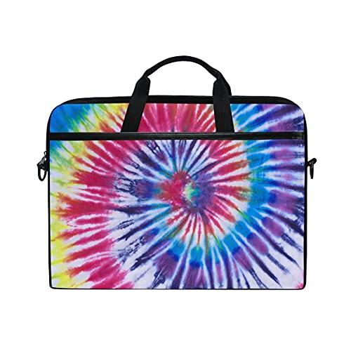 Bolsa Para Portátil Rainbow Swirl Tie Dye Estuche Para Computadora Bolsa Protectora Maletín De Viaje Con Correa Para El Hombro