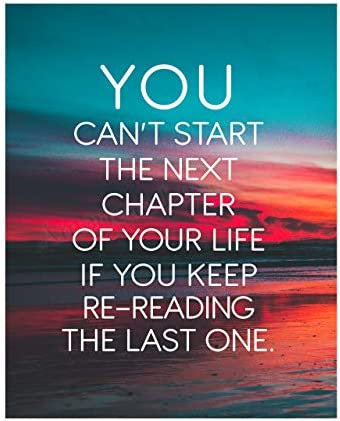 You Can t Start the Next Chapter In Life Motivational Quotes Wall Art 8 x 10 Beach Sunset Poster product image