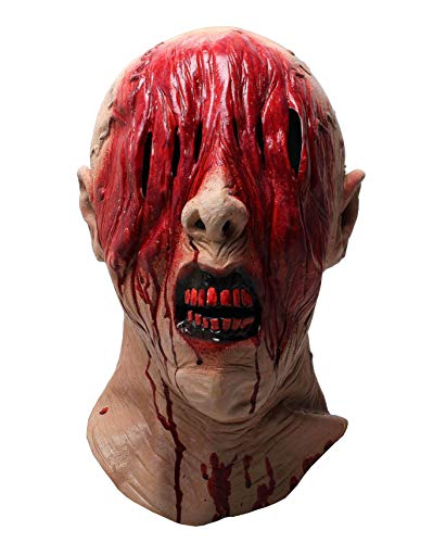 LEKA NEIL Halloween mask-zombie mask-Vampire Mask-Creepy Costume Corpse Party Overhead Mask(Red-A)