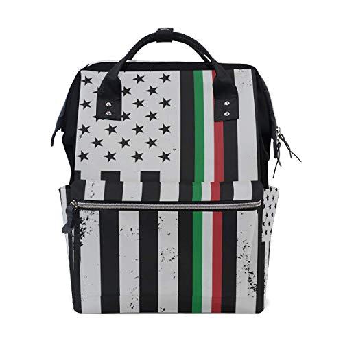Baby-Wickeltasche mit großer Kapazität Italienische amerikanische dünne Linie Flagge Langlebiger Multifunktions-Reiserucksack