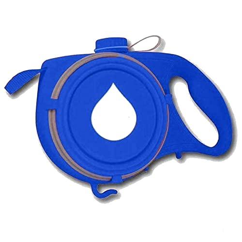 Correa para Perro retráctil sin enredos de 360 ° con Recipiente Plegable y dispensador de Bolsas de residuos Botella de Agua incorporada Función 4 en 1 Línea para Perros (Color : Blue)