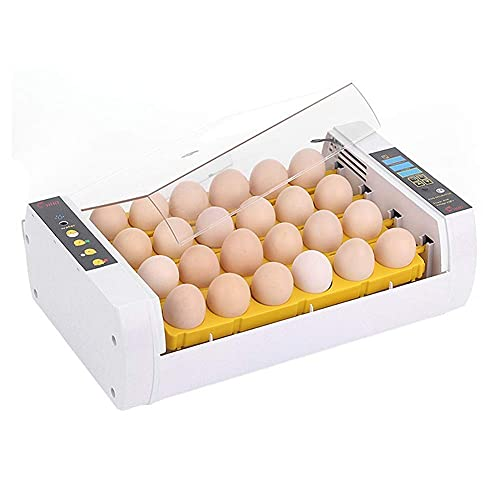 FHISD Incubadora de Huevos Máquina incubadora Digital giratoria automática 24 Huevos para Pollo codornices Palomas Control de Temperatura y Humedad