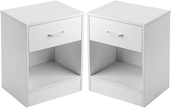 SSLine White Nightstand With Drawer Set Of 2 Bedside Table Wood Sofa Side End Table Small Chest For Home Bedroom Dorm Furniture