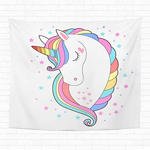N/A Home Tapiz decorativo para colgar en la pared, diseño de cabeza de unicornio blanco con cara de poni con pelo de arco iris, tapices de 152 x 203 cm, para dormitorio, sala de estar y dormitorio