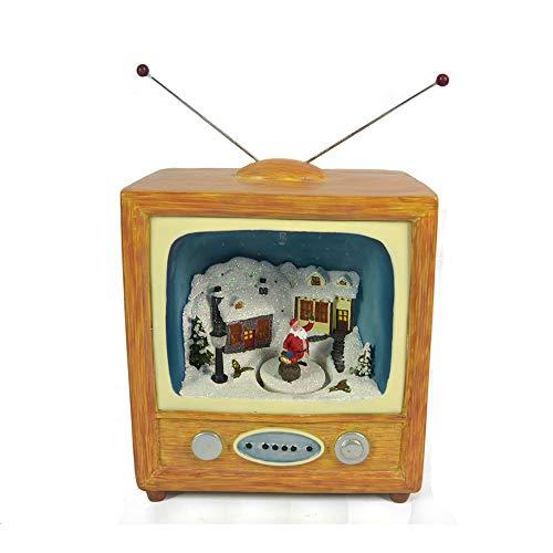 Televisore Villaggio di Natale innevato con Movimento, TV vintage paesaggio con Luci LED e Musica Negozio Babbo Natale Scenario Natalizio Carillon Giostrina Musicale Dimensioni 19x12x21cm