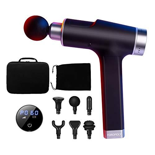 Massagepistole Massagegerät, Deep Tissue Massage Gun Muskelmassagegerät mit 6 Einstellbare Geschwindigkeiten und 6 Austauschbare, Tragbaren LED-Touchscreen-Massagepistole, Lindert Muskelkater