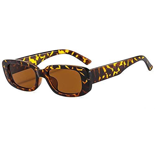 Gafas de sol Gafas de sol de marco pequeñas Gafas de sol Elípticas Fashion Street Shooting Hombres y mujeres Gafas-Té de marco de leopardo