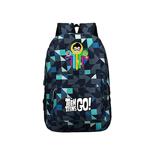 Teen Titans Go Mochila de Moda del diseño del Estilo Occidental Mochila de Gran Capacidad Mochila for niños y niñas Niños (Color : A42, Size : 30 X 13 X 43cm)