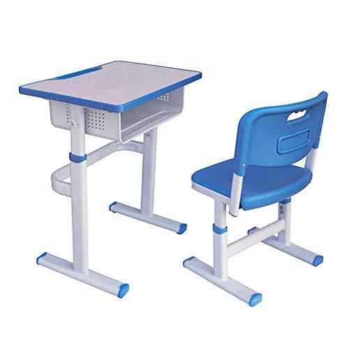 N/Z Tägliche Ausrüstungstische Schreibtisch- und Stuhlset Höhenverstellbare ergonomische Schreibtische Stühle mit Haken Bleistiftnut Offene Schublade Blau