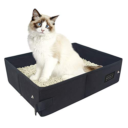 Petsfit Fabric Portable/Foldable Cat Litter Box/Pan for Travel Used Light Weight