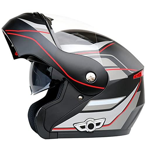XKUN Casco Bluetooth Moto para Adultos, Casco Modular CaíDa Motocicletas, Casco Carreras De Motocross, Visera Doble Sol De Cara Completa, para Hombres Mujeres-H,XXL(63~64CM)