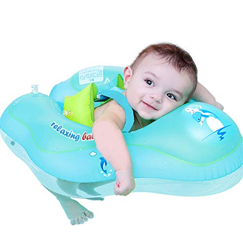 【Upgrade】Baby Swimming Float Ring - Baby Spring Floats Swim Trainer Newborn Baby Kid Toddler Age 3-10 Month (11 - 22lbs) Summer Outdoor Beach Water Bath Toy Swimming Pool Accessories