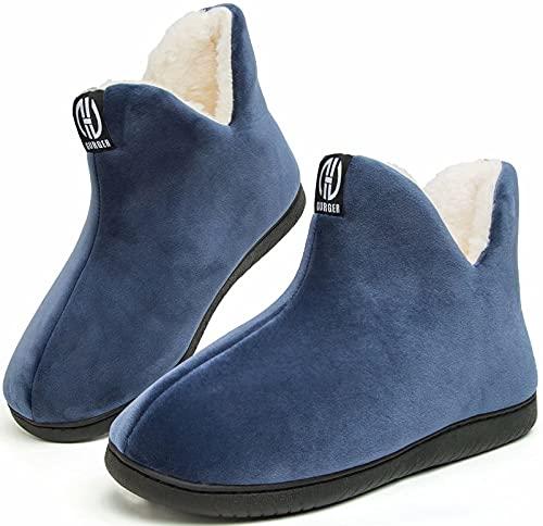 GURGER Pantofole a Stivaletto Donna Uomo Invernali Chiuse Peluche Calde Alte Pantofole da Casa Collo, Blu Navy 40 41