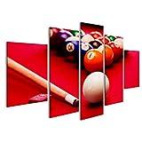 Tableau Tableaux sur Toile Billard Jeu de Billard. Cue Ball, Cue, Boules de Couleur dans Le Triangle, la Craie. Tissu Rouge Ti Images Impression Cadeau DDN