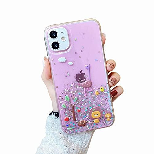 Miagon Glitter Paillette Brillant Coque pour iPhone XR,Fille Femme Transparent Cover Scintillait Étoile Silicone Flexible Étui Housse,Forêt Animal Rose