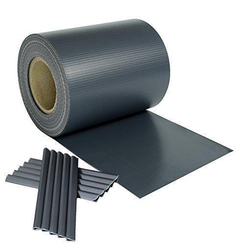 Rapid Teck Hochwertige PVC Sichtschutzstreifen Rolle 35m x 0,19m (Anthrazit RAL 7016) Blickdicht Sichtschutz Zaunblende Zaunfolie Windschutz inkl. Klemmen