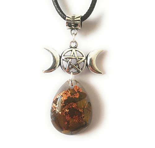 Collar colgante orgonita Wicca Triple diosa Protección ojo de tigre Pentáculo Amuleto luna Joyería unisex