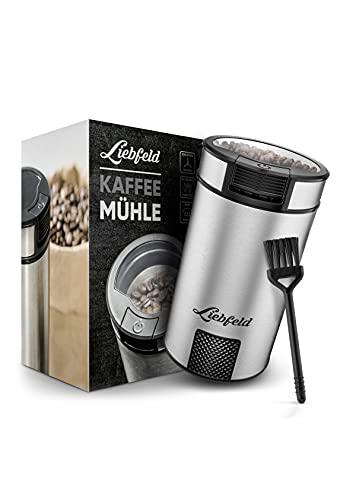 Liebfeld - Elektrische Kaffeemühle mit Edelstahlmesser I Kaffemühle elektrisch für Nüsse & Gewürze I Coffee Grinder