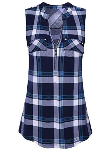 Amrto Damen V-Ausschnitt Shirts Ärmellose T Shirt Casual Bluse mit Reißverschluss Tunika Tank Tops, Blaues Plaid M