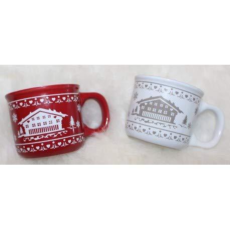 Juego de 4 tazas de café expreso, color rojo y blanco