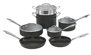 Cuisinart Dishwasher Safe Hard-Anodized 11-Piece Cookware Set Black