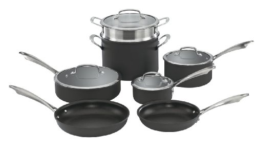 Cuisinart DSA-11 Dishwasher Safe Hard-Anodized 11-Piece Cookware Set, Black