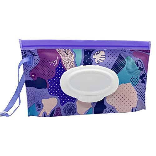 VOONGOR Portable Refillable Wet Wipe Container, Reusable Travel Wipes Holder & Case, Lightweight Flushable Diaper Wipes Pouch for Baby (Purple Style)
