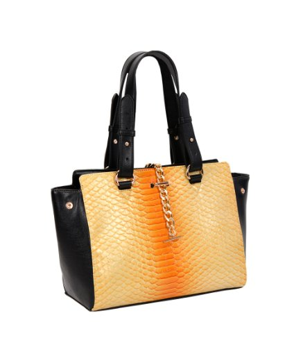 FASH Limited Snake Stampa Faux Leather Tote, Golden Hardware, Piccolo