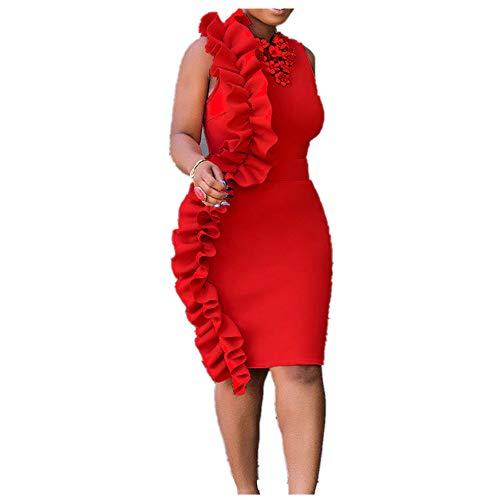 OIKAY Abschlussball Kleider Damen lang Frauen Plus Size Vintage Flower Ärmelloses Bleistiftkleid Rockabilly Kleider