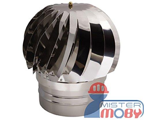 Mistermoby Schornsteinaufsatz Aspirator, drehbar, windbetrieben, Edelstahl, für runde Schornsteine, Durchmesser: 20cm