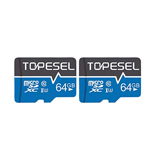 TOPESEL 64GB Micro SD Card 2 Pack Memory Cards U3 C10 Micro SDXC UHS-I TF Card for Cemera/Drone/Dash Cam(2 Pack U3 64GB)