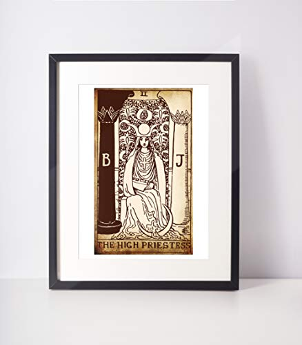 The High Priestess Antique Tarot Print/Tarot Card Art/Major Arcana/Tarot Wall Hanging/Rider Waite Tarot