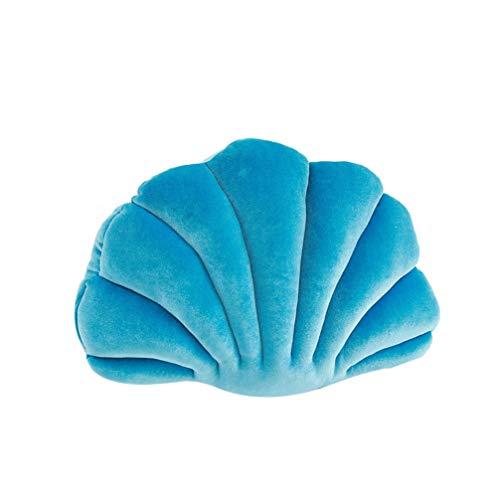 VOSAREA Creativo cojín decorativo de peluche con forma de concha, océano, animal, abrazable, para acuario, para cama, sofá, silla, coche (azul 2)