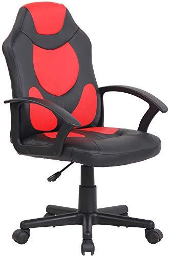 CLP Kinder Bürostuhl Adale I Höhenverstellbarer Schreibtischstuhl Mit Armlehnen I Drehstuhl Mit Leichtlaufrollen, Farbe:schwarz/rot