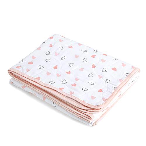The White Cradle aus Bio-Baumwolle weichste Babydecke für Kinderbett/Bett, mit 3 weichen Stofflagen, umkehrbare Designs, 2 Seiten bedruckter Musselin, Flanell in der Mitte, 95 x 120 cm - Pink Hearts