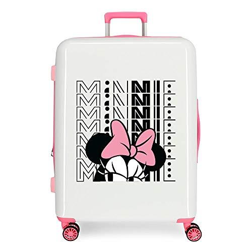 Disney Pretty Minnie Medium Suitcase White 48 x 70 x 26 cm Rigid ABS Integrated TSA Closure 81L 2 kg 4 Double Wheels