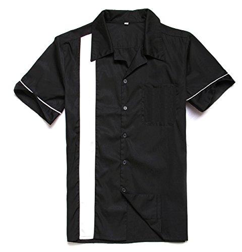 Anchor MSJ Herren 50er Jahre Männliche Kleidung Rockabilly Stil Baumwolle Herren Hemden Kurzarm Fifties Bowling Casual Button-Down Shirts - Schwarz - Klein