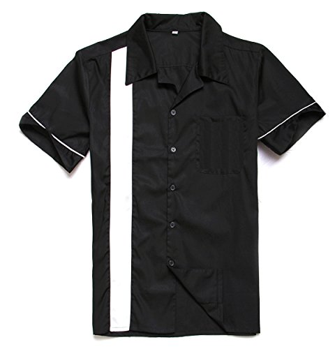 Anchor MSJ Men's 50s Male Clothing Rockabilly Style Casual Cotton Blouse Mens Fifties Bowling Dress Shirts (M) Black