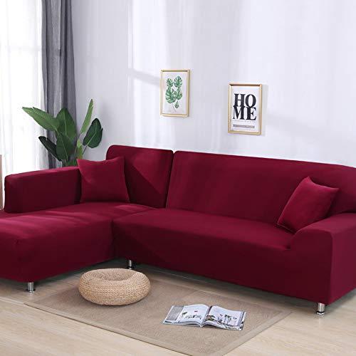 Aututer La Forma de L Necesita 2 Piezas de Funda de sofá de Esquina sólida para Sala de Estar, Funda Antideslizante de Spandex elástica, Funda de sofá, Toalla de sofá elástica, Funda de sofá