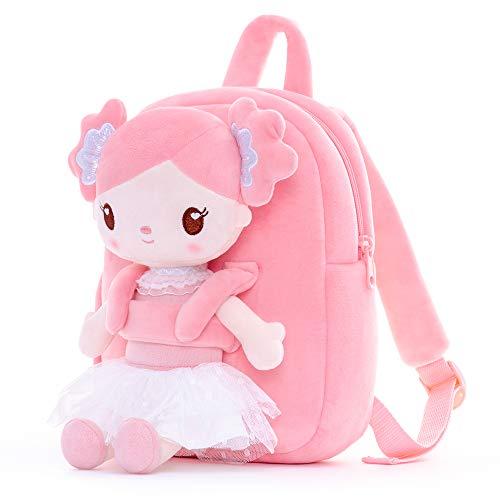 Gloveleya Sac à Dos pour Tout-Petits Peluche Cadeaux Bébé Sac à Dos Fille Enfants Poupée Candy Girl Rose 9 Pouces