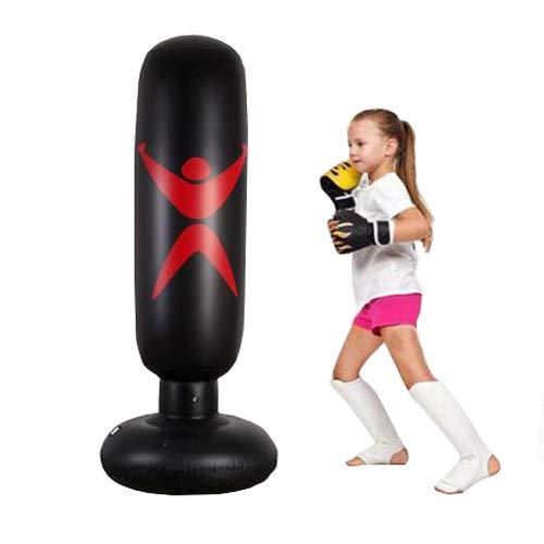Lifesongs Boxsack Kinder 160cm,Standboxsack Boxsack Stehend Aufblasbare Boxsäule Tumbler Kinder Erwachsene Fitness Dekompression Sandsäcke Kick Kampftraining (red)