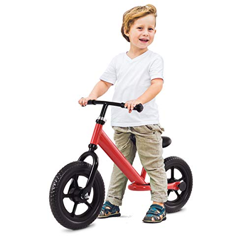 Costzon Kids Balance Bike, 12 Inch Classic Lightweight No-Pedal Toddlers Walking Bicycle w/Height Adjustable Seat and Handle, for Children Boys & Girls Age 2-5 (Red) -  FWAM-00800