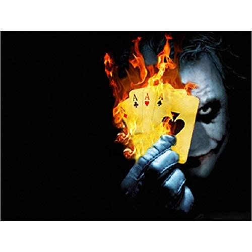 wtnhz Joker Spielkarten und Feuer/Bild Clown-Serie auf Leinwand drucken/Wandkunst Home Decoration/Das Bild für Moderne Home Decoration / 70X90cmKein Rahmen