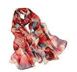 Scarfs for Women Lightweight Print Floral Pattern Scarf Shawl Fashion Scarves Sunscreen Shawls (Leaves&Red Yellow, 16050CM)