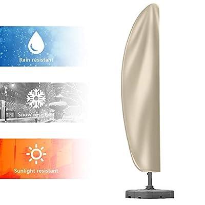 Patio Umbrella Cover, Upgraded 420D Oxford Fabric Waterproof Snowproof Outdoor Cantilever Umbrella Cover with Zipper for 9-11ft Offset Parasol Umbrellas (280 x 81 x 45cm) - Khaki